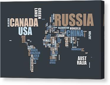 Word Map Digital Art Canvas Prints