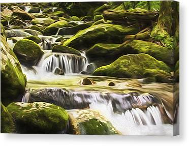 Smokey Mountains Digital Art Canvas Prints