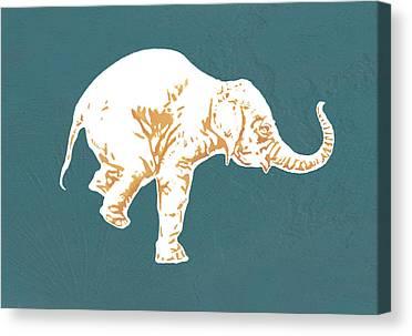 Asian Elephant Drawings Canvas Prints