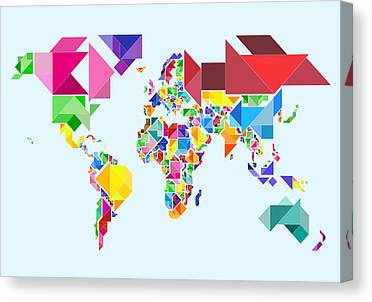Tangram Map Canvas Prints