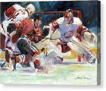 Sports Chicago Blackhawks Detroit Red Wings Hockey Goalmouth Action Canvas Prints
