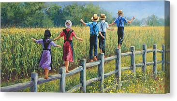 Amish Family Paintings Canvas Prints