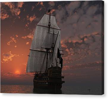 Pirate Ship Mixed Media Canvas Prints