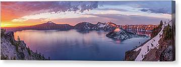 Crater Lake Sunset Canvas Prints