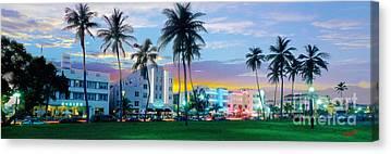 Miami Skyline Mixed Media Canvas Prints