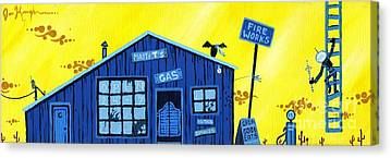 Old Gas Station Paintings Canvas Prints
