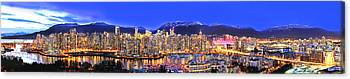 Vancouver At Night Canvas Prints