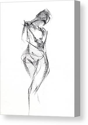 Woman Drawings Drawings Canvas Prints