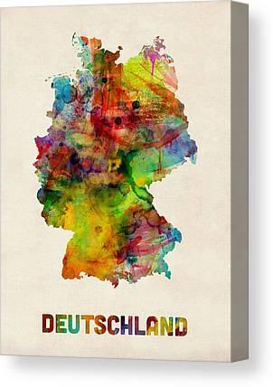 Deutschland Karte Canvas Prints