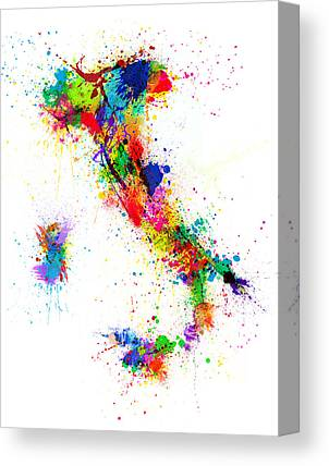 Italy Map Canvas Prints
