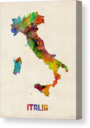 Map Of Italy Canvas Prints