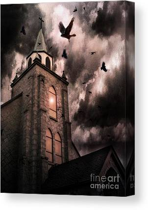 Ravens With Church Canvas Prints