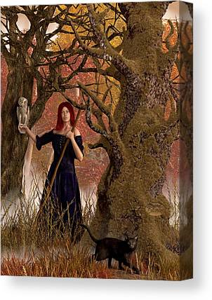 Witch Halloween Cat Wicca Canvas Prints