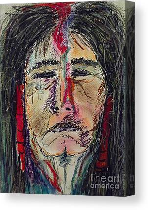 Native American Portrait Of One Of My Spirit Guides Canvas Prints