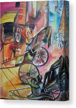 Hand Pulling Rickshaw Canvas Prints