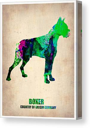 Boxer Dog Digital Art Canvas Prints
