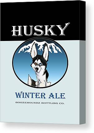 Huskies Drawings Canvas Prints