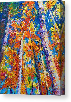 Yellow Fall Leaves Paintings Canvas Prints