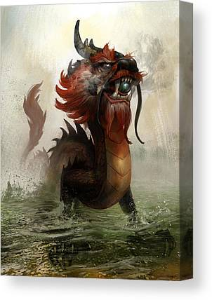 Dragon Mixed Media Canvas Prints