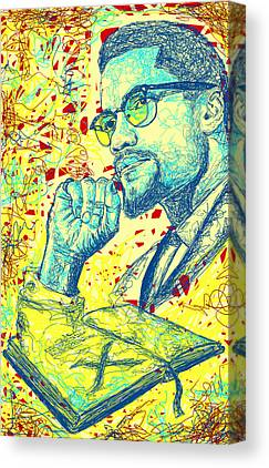Malcolm X Drawing In Lines Canvas Prints