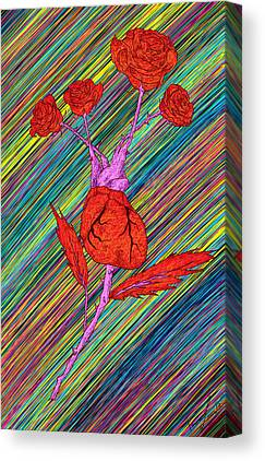 Heart Made Of Roses Drawing Canvas Prints