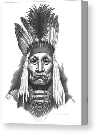 Native American Indian Drawings Canvas Prints