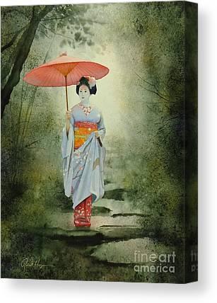 Japanese Umbrella Paintings Canvas Prints
