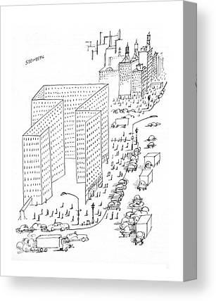 City Scene Drawings Canvas Prints