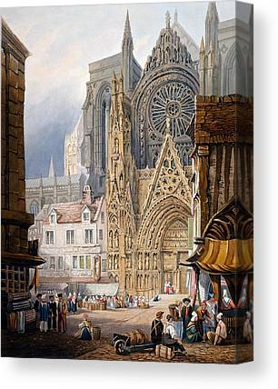 Medieval Entrance Drawings Canvas Prints