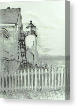 Pemaquid Lighthouse Drawings Canvas Prints