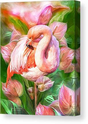 Flamingo Flower Mixed Media Canvas Prints