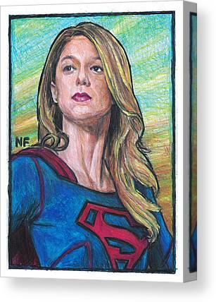 Supergirl Drawings Canvas Prints