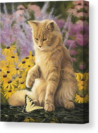 Cat And Butterfly Canvas Prints
