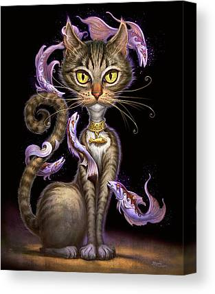 Tabby Cat Digital Art Canvas Prints