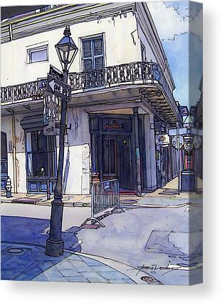 French Quarter. City Scene Drawings Canvas Prints
