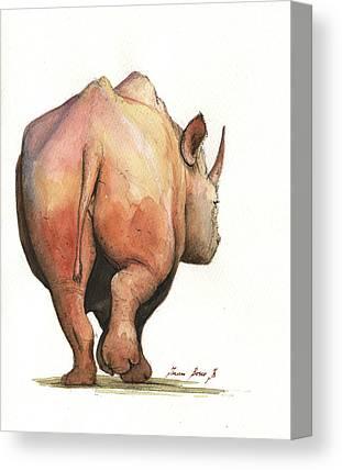 White Rhino Canvas Prints