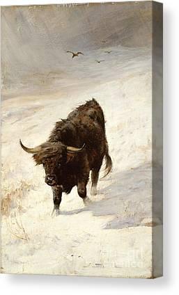 Black Beast Wanderer By Joseph Denovan Adam 1842-96 Canvas Prints