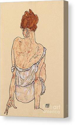 Seated Woman In Underwear Canvas Prints