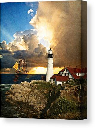 Rocky Maine Coast Digital Art Canvas Prints