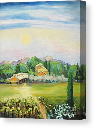 Moon Over Vineyard Canvas Prints