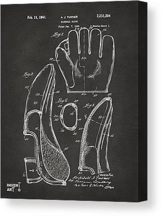 Baseball Glove Drawings Canvas Prints