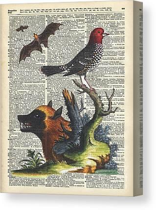 Watercolor With Pen Mixed Media Canvas Prints