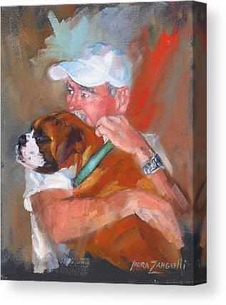 Dog And His Owner Canvas Prints
