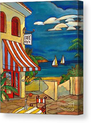 Portofino Cafe Paintings Canvas Prints