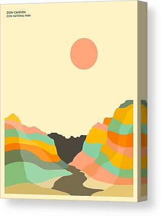 Zion National Park Digital Art Canvas Prints