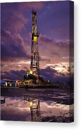 Picture of Drilling Rig and Storm in Oklahoma Oilfield Photography Art Print