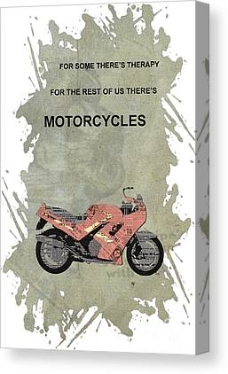 Motorcycle Quote Mixed Media Canvas Prints
