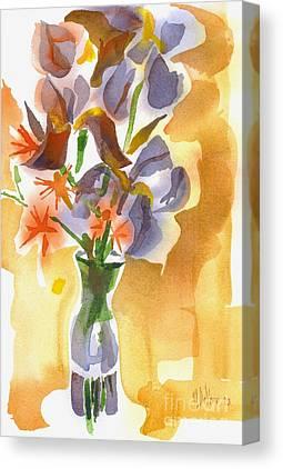 Irises With Stars Of Bethlehem Canvas Prints