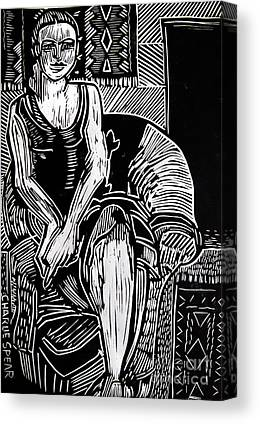 Lino Cut Woman Canvas Prints