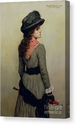 Girl With Red Umbrella Paintings Canvas Prints
